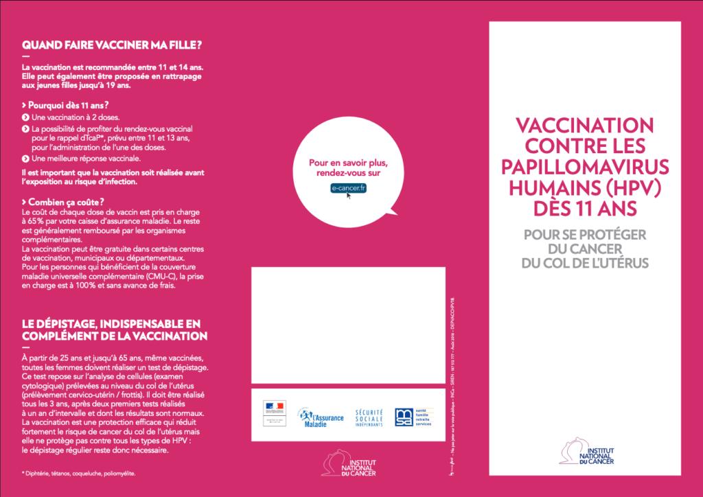 Plaquette vaccination H.P.V.